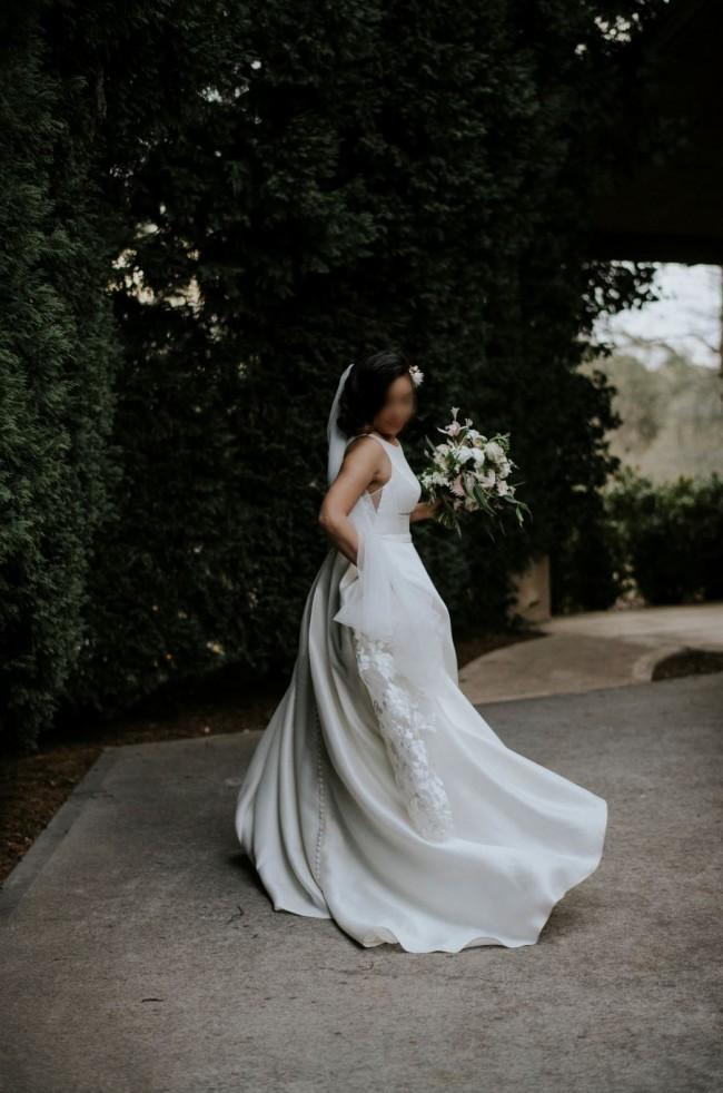 Oleg Cassini High-Neck Mikado Ball Gown Wedding Dress WG3879