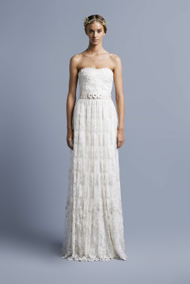 Collette Dinnigan, Ribbon Embroidered Strapless Lace Wedding Gown