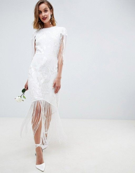 ASOS Bridal, ASOS EDITION embroidered fringe wedding dress