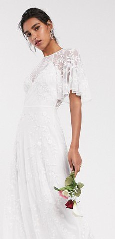 ASOS Bridal Embroidered & Beaded Flutter Sleeve dress