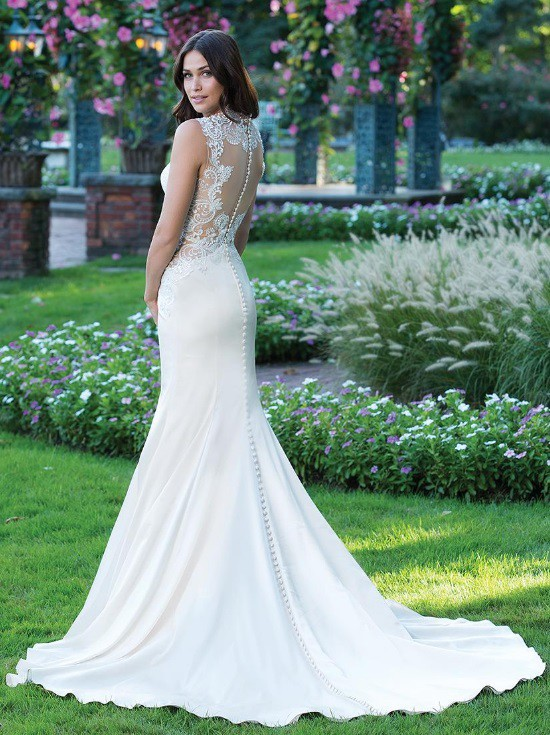 Bridal Manor, Sheath Gown with a Lace illusion Back and side