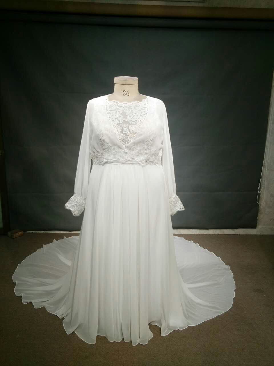 Darius Cordell Long sleeve plus size empire waist bridal dress Wedding  Dress On Sale - 25% Off