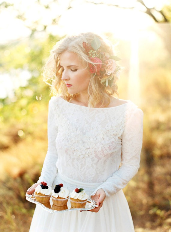 Cathy Telle  Romantic Silk-Chiffon and Lace Lining Wedding Dre
