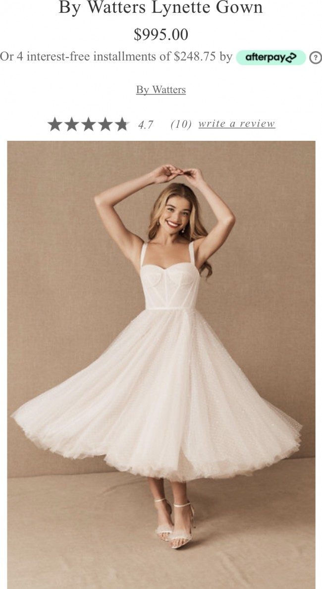 BHLDN By waters Lynette Gown - A vintage inspired midi s