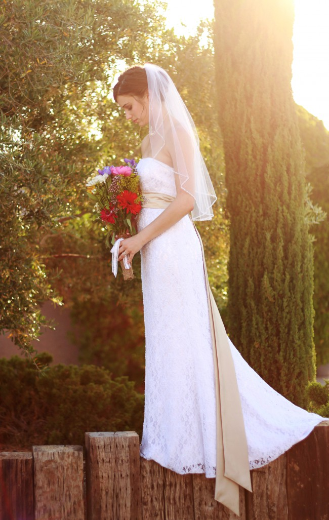 Galina, Beaded Lace Sheath Gown with Empire Waist