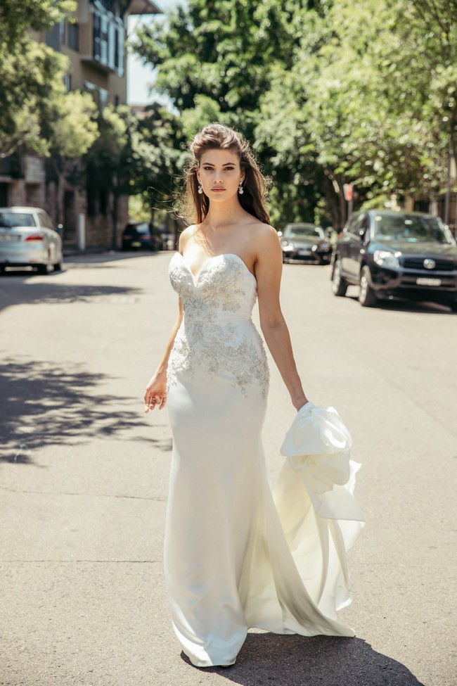Caleche Bridal House London Couture -  Sweetheart, beaded satin trumpet