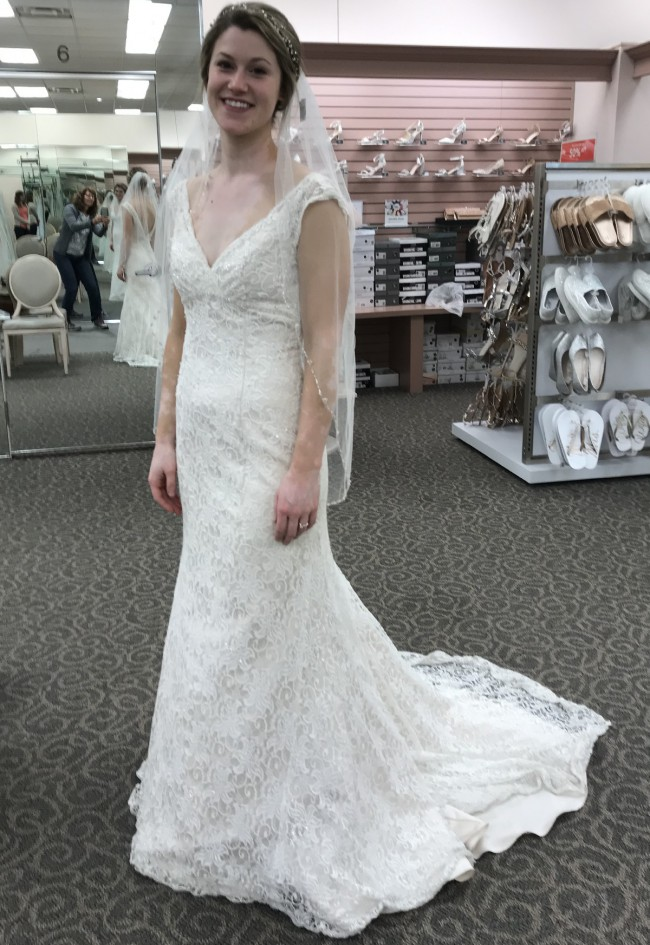 David's Bridal All Over Beaded Lace Trumpet Wedding Dress