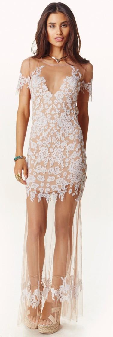 For Love & Lemons Luau Maxi Dress, Nude and White
