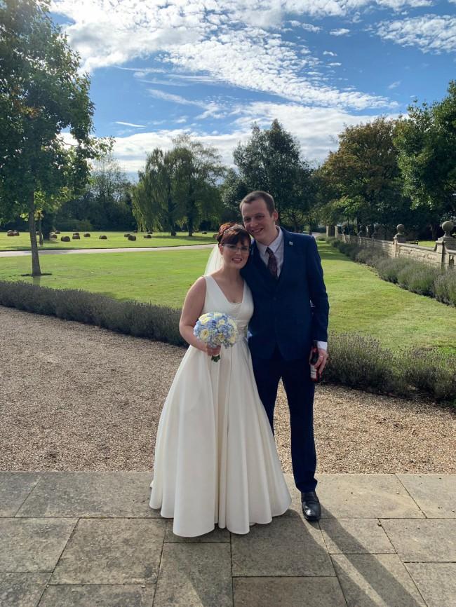 David's Bridal Satin Cummerbund Ball Gown Wedding Dress V3848
