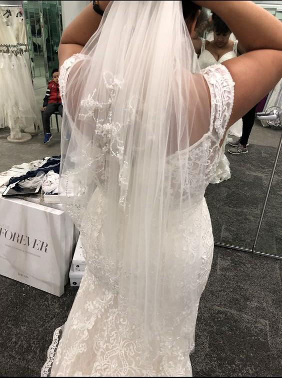 Oleg Cassini Beaded Lace Off-the-Shoulder Mermaid Wedding Dress
