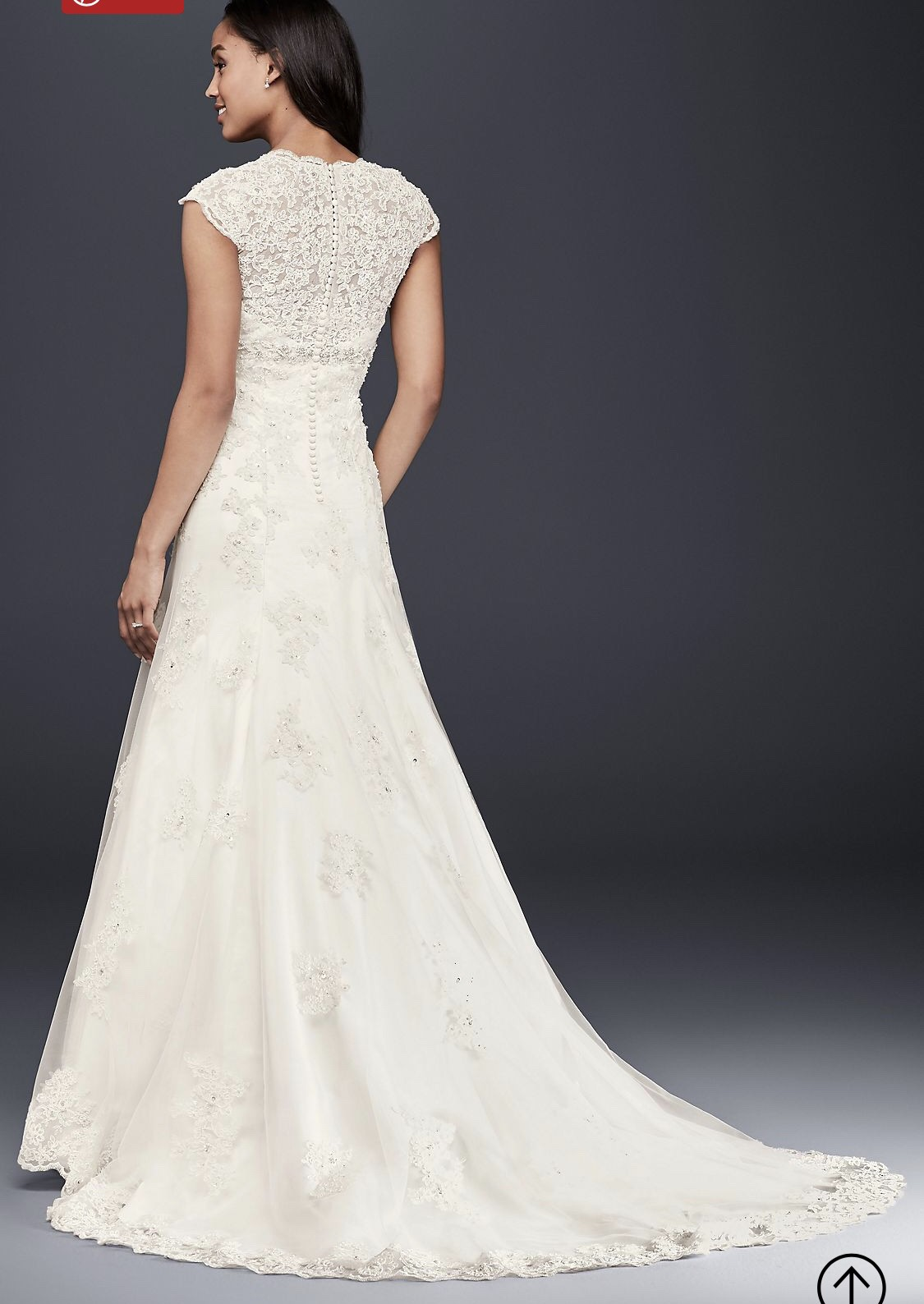 Davids Bridal Cap Sleeve Lace Over Satin Wedding Dress Wedding Dress On Sale 76 Off