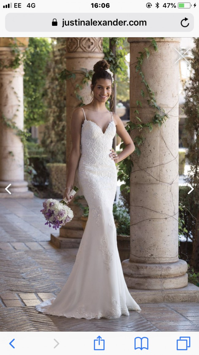 Justin Alexander V Neck Fit and Flare gown with spaghetti straps 40