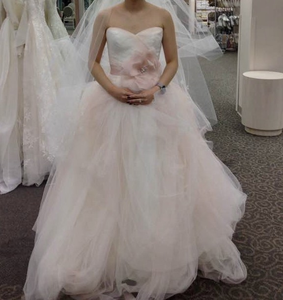 Vera Wang White Strapless Tulle Ombre Ballgown