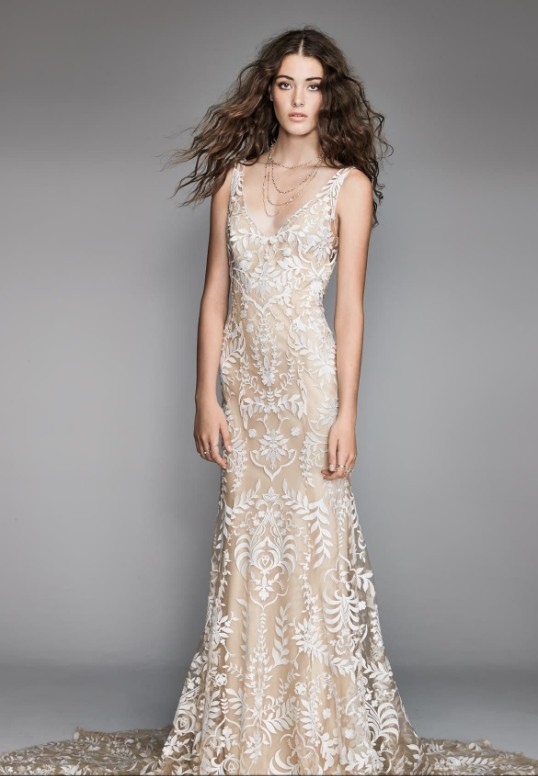 Willowby Corella Embroidered Lace Charmeuse Mermaid Gown Wedding Dress On Sale 19 Off