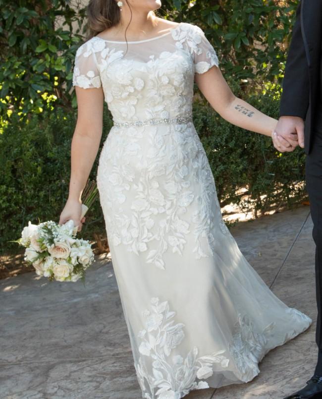 Melissa Sweet Embroidered Illusion Cap Sleeve Wedding Dress Styl