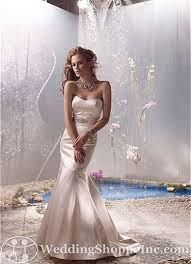 Tara Keely Tara Keely silk satin duchess trumpet gown straple