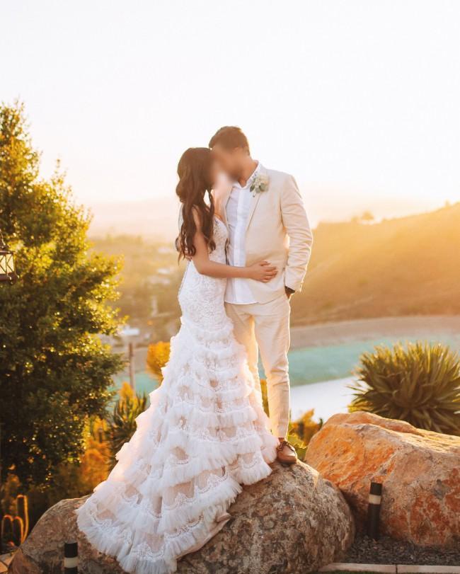 Galina Signature, Beaded Lace Wedding Dress with Plunging Neckline