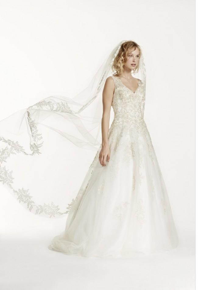 Jewel Tank Tulle V-Neck Beaded dress + Veil