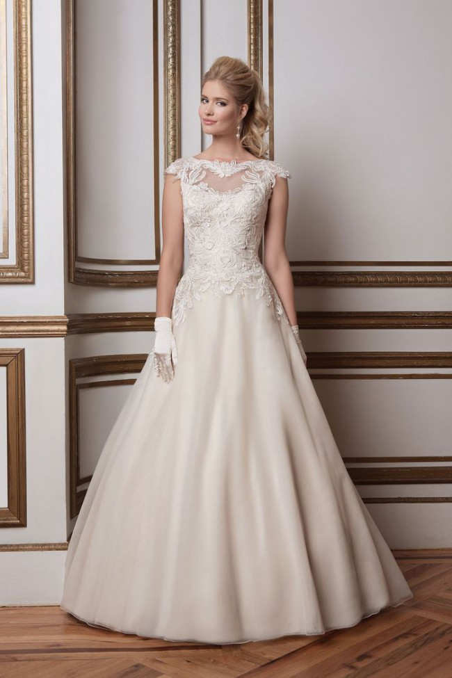 Justin Alexander Soutache Lace & Tulle Ball Gown with Sabrina Neckl