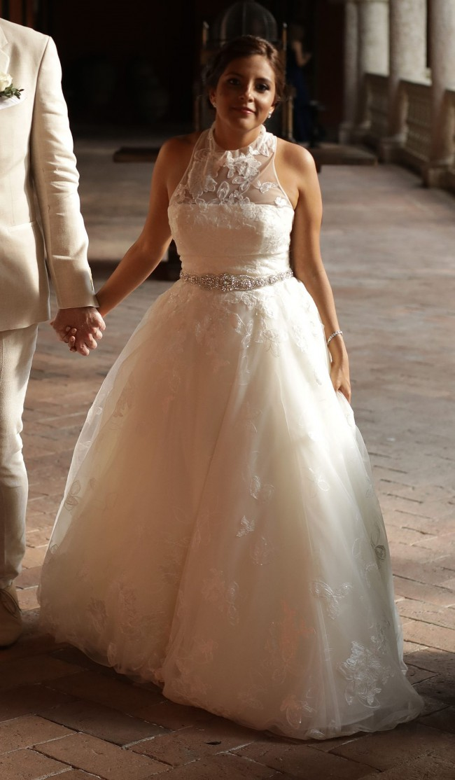 Vera Wang, White by Vera Wang Illusion Floral Wedding Dress