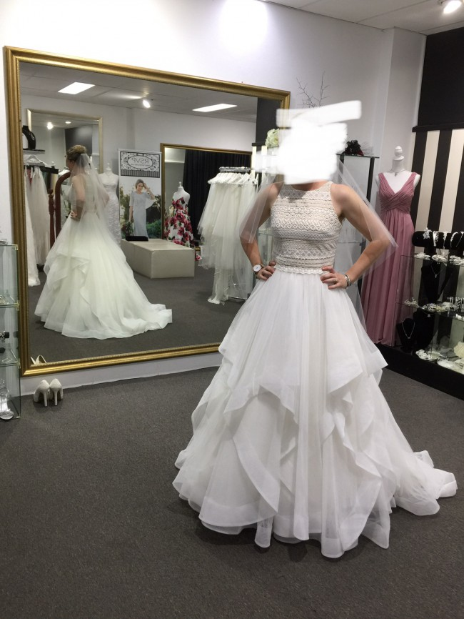 Alfred Angelo Q'nique Mandala top and Alfred Angelo A2609 ivory