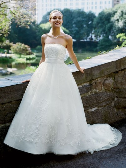 David's Bridal, Tulle Ball Gown with Aplique Overlay