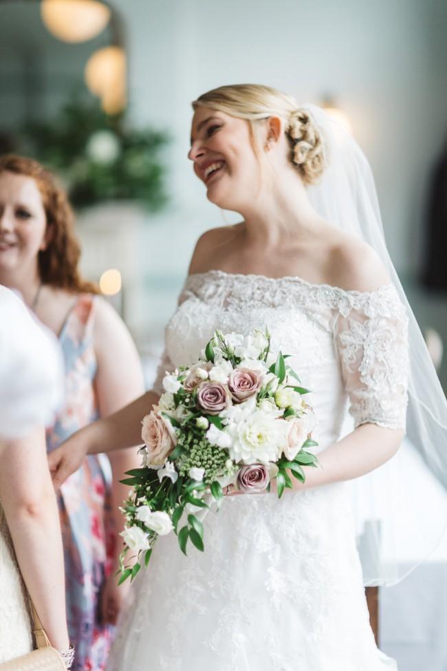 06d9fc405fb4 David's Bridal Jewel Off the Shoulder 3/4 Sleeve Wedding Dress St ...