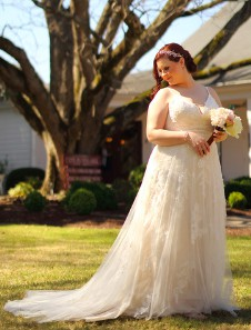 Davids Bridal Scalloped A-Line Wedding Dress with Double Straps Style MS251177