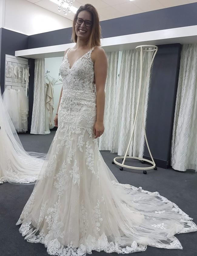 Essense of Australia Sexy Lace Boho Wedding Dress - D2387