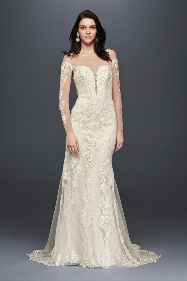 Galina Signature, Illusion sleeve lace wedding dress