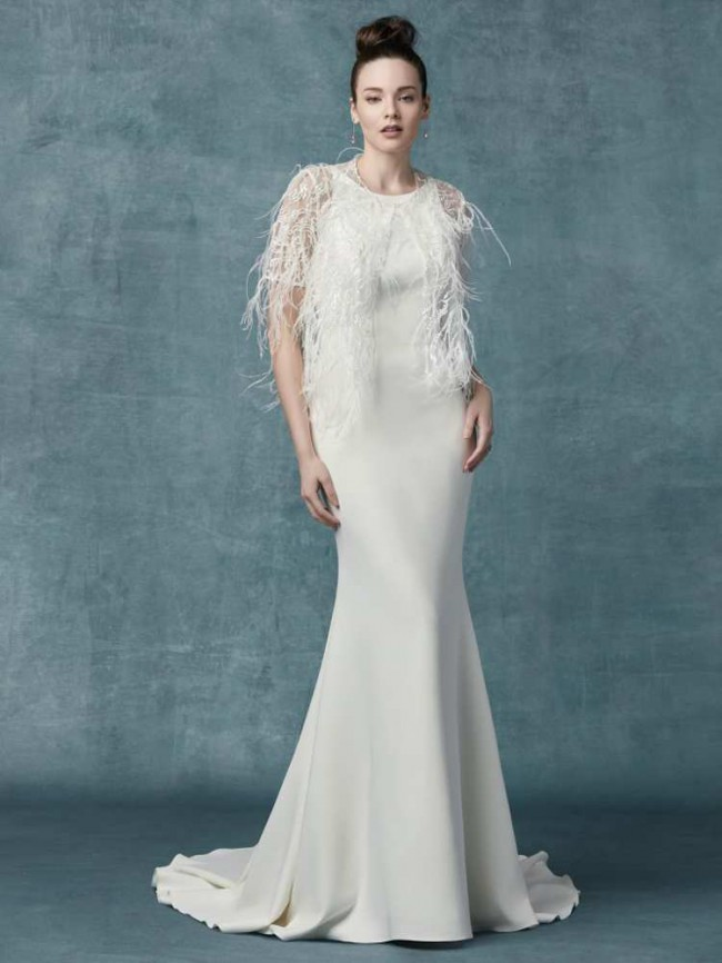 Maggie Sottero, Claudia Dawn (Dress and Feather Jacket)