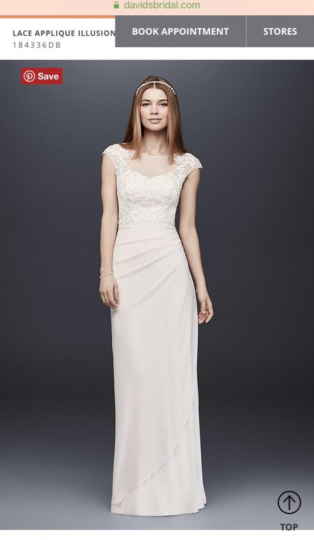c21c9bcb564 David s Bridal LACE APPLIQUE ILLUSION MESH SHEATH DRESS New Wedding ...