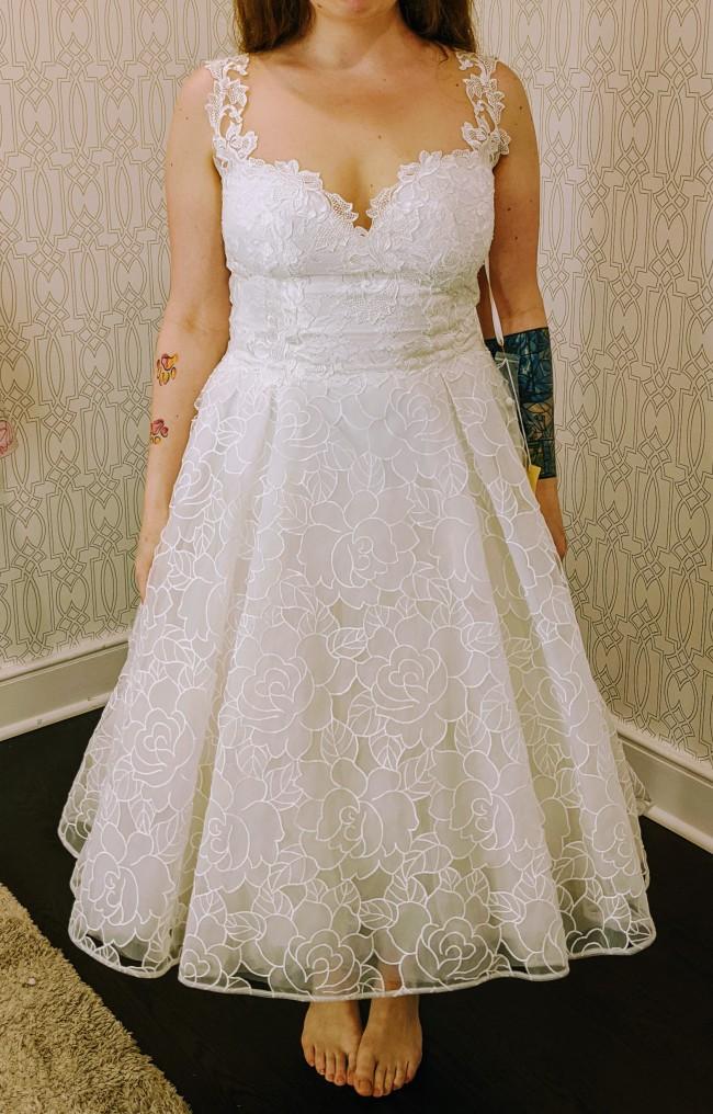 Olvi's Tea Length Dress w/  Embroidered Skirt