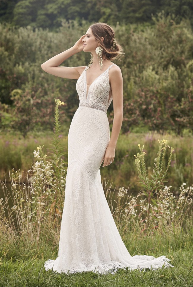 Lillian West 66136 - Allover Lace Gown with Trim Detail and Sha