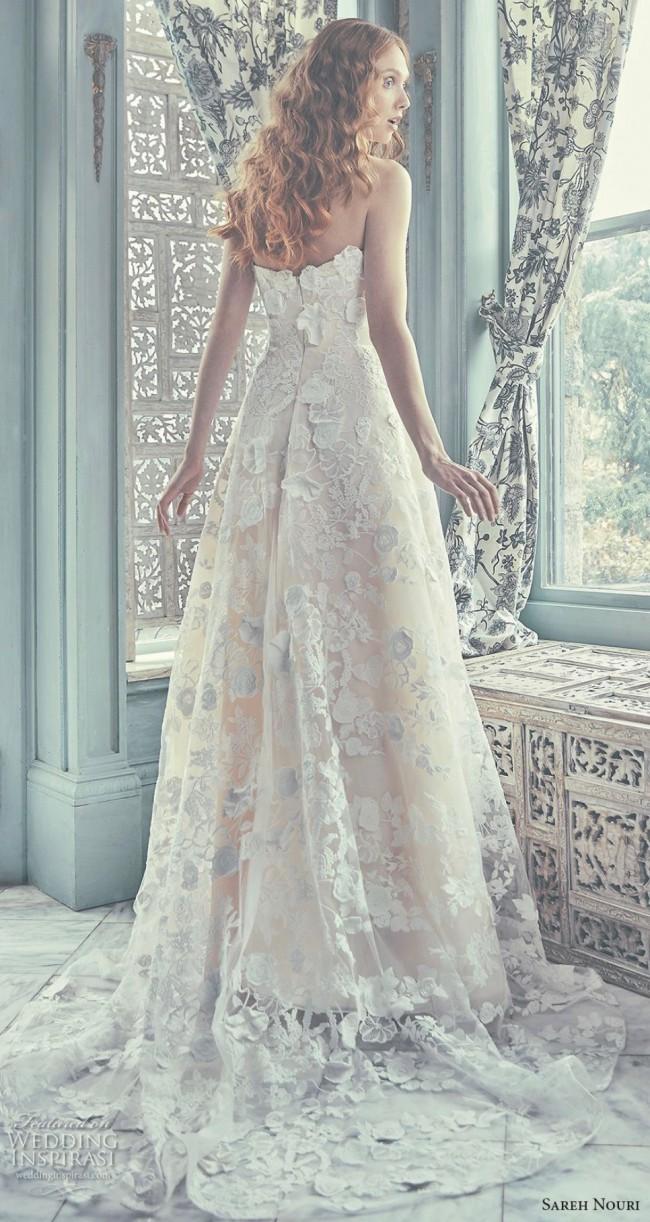 Sareh Nouri, Chelsea Gown with Strapless Crescent Neckline