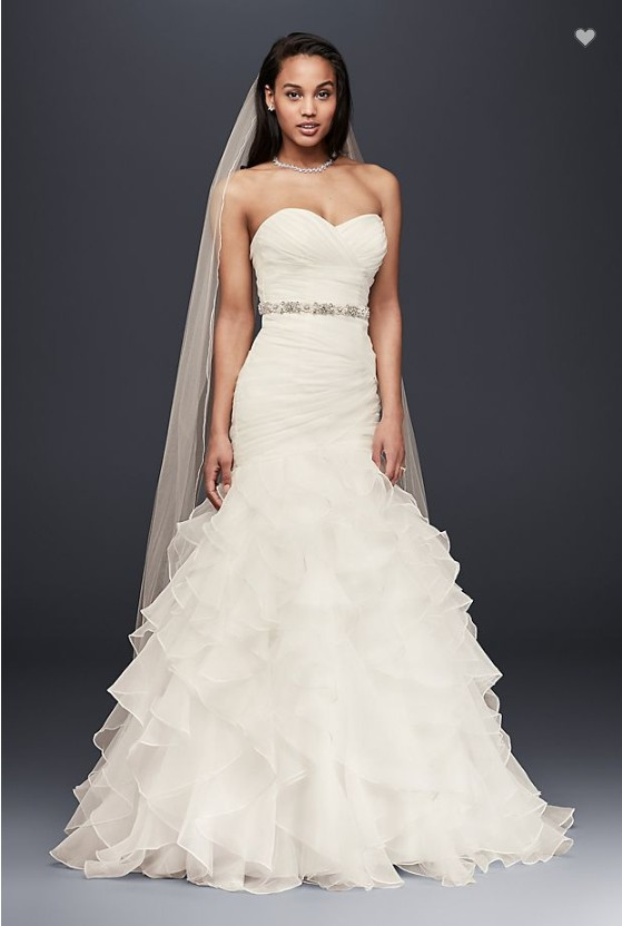 David's Bridal Collection Organza Mermaid Wedding Dress with Ruffled Skirt