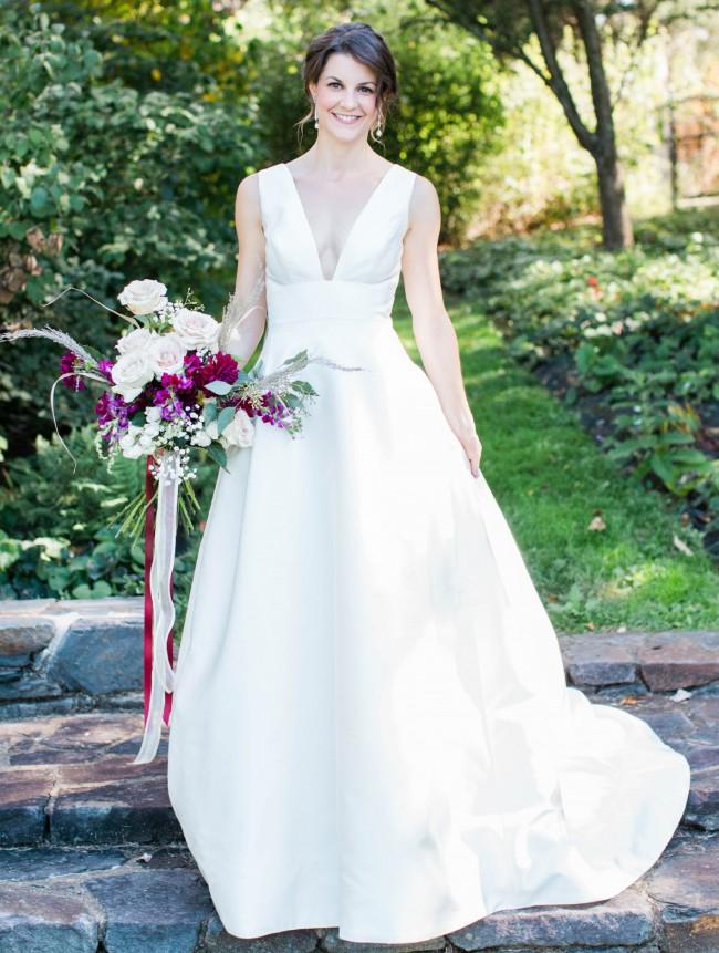 Carolina Herrera Mason Plunging V-Neck Silk Mikado Gown