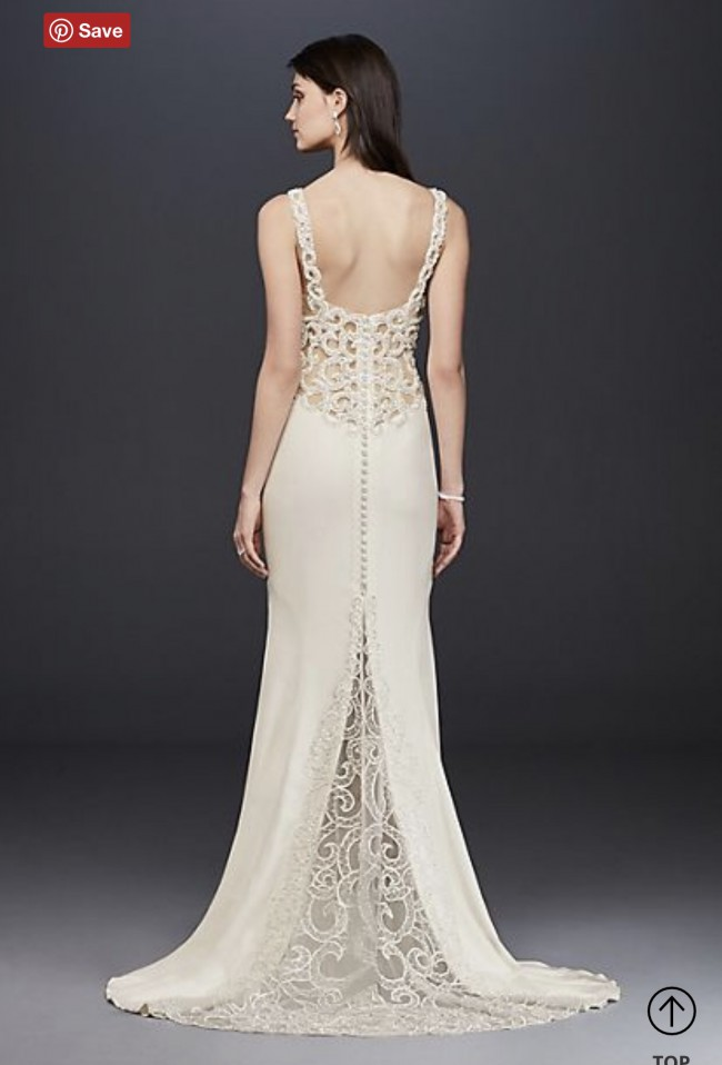 Galina Signature SV771 Beaded Illusion and Crepe sheath