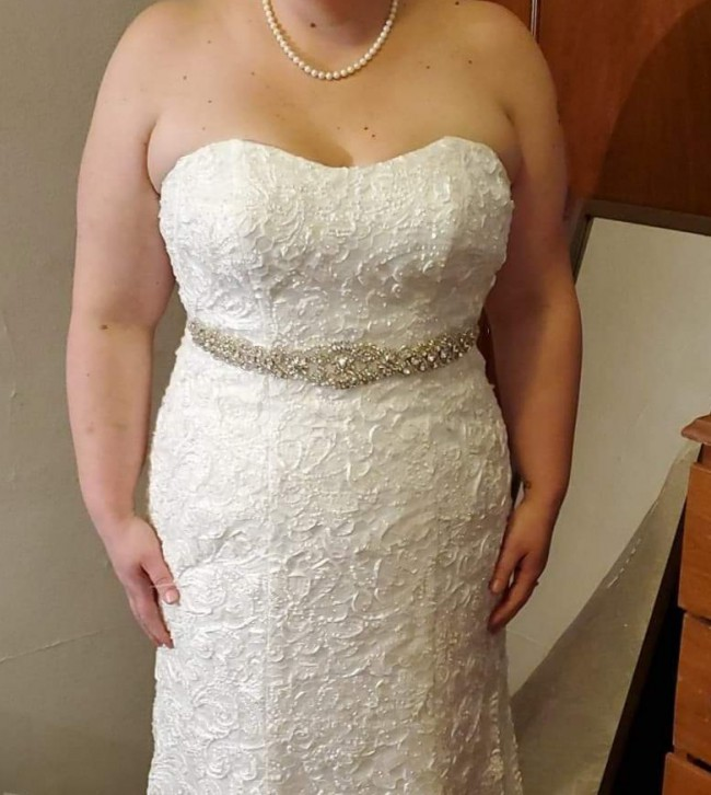 David's Bridal Lace Over Charmeuse Gown with Soutache Detail