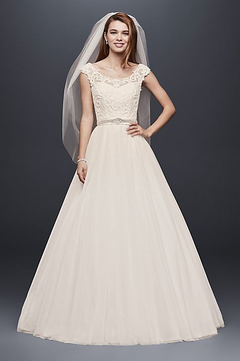 David's Bridal Collection Tulle Wedding Dress with Lace Illusion Neckline