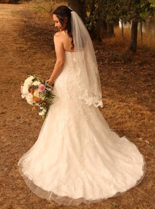 Jewel, WG3755- Lace A-Line Wedding Dress with Beadwork