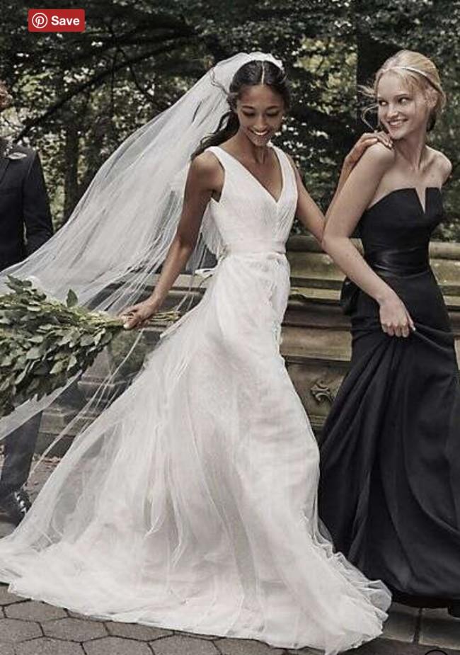 Vera Wang PLEATED TULLE FLUTTER-BACK SHEATH WEDDING DRESS -