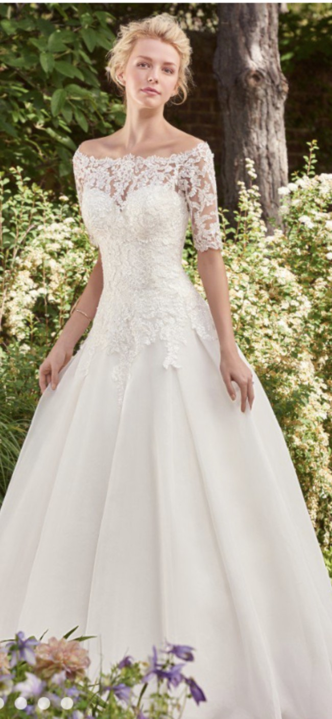 Maggie Sottero 'Darlene' Dress and lace jacket by Rebecca Ingram