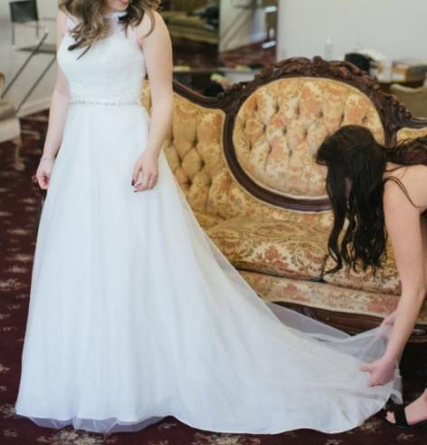 David's Bridal  David's Bridal Collection WG3711 - Illusion Lace