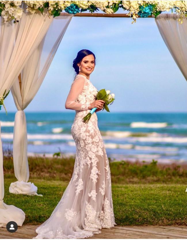 Galina Signature Illusion Sequin Floral Applique Wedding Dress