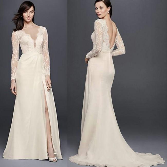 Galina Signature, CHIFFON WEDDING DRESS WITH LOW V-NECK AND BACK SWG