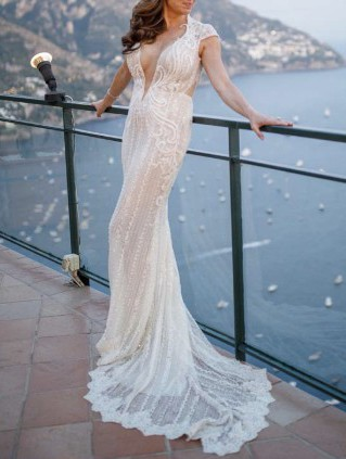 Berta, Cap Sleeve Embellished Lace Mermaid Gown, Main, co