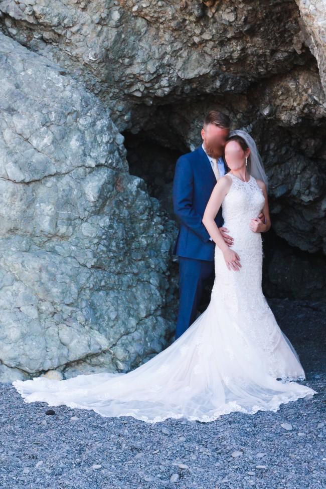 Essense of Australia D2174 Lace Wedding Dress with Halter Neckline