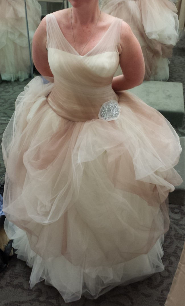 250ecf96d1801 Vera Wang VW351157 White by Vera Wang Ombre Tulle Ball Gown Preowned ...