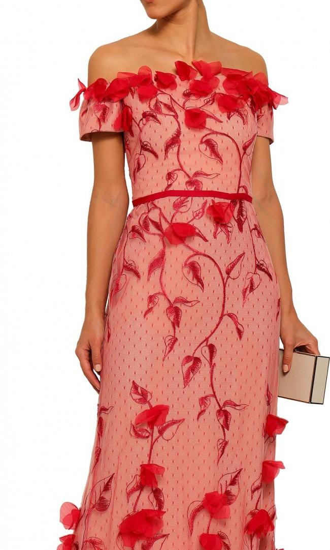 Marchesa Notte Off-the-shoulder floral-appliquéd embroidered poin